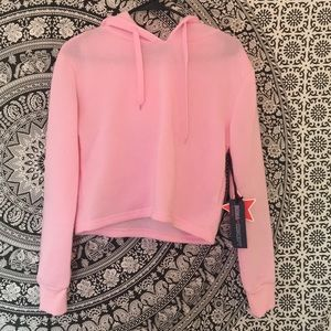 Sweaters - Cropped Baby Pink Hoodie